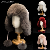 2019 Best Quality Real Natural Fox Fur Hat With Lining Winter Warm Fur Hat Women Cap Russian Cap Free Shipping
