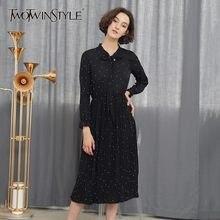 47f8889ce8 TWOTWINSTYLE Polka Dot szyfonowa długa sukienka kobiet łuk O Neck Lantern  rękawem wysoka talia linia suknie dla kobiet jesień mo.