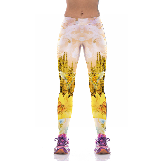 NEW KYK1005 Fashion Sexy Girl Women City Bird Flower 3D Prints High Waist Workout Fitness Women Leggings Jogger Pants Plus Size