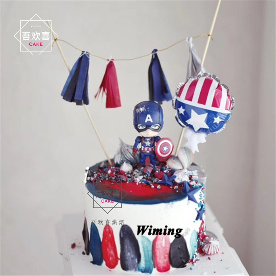 Astonishing Cake Topper Captain America Toys Superhero Party Supplies Children Funny Birthday Cards Online Alyptdamsfinfo