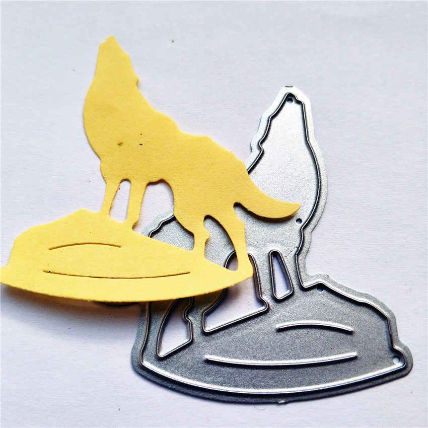 Stansmessen sterven Moon Shadow Lone Wolf metal printing craft papier relief DIY reliëf Kerst Nieuwe Jaar Valentijnsdag