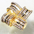 Square Petals Design Gold Plated With Shine AAA Zirconia Stone 360 Rotation Big Surface Rings For Women Fashion Jewelry 2017