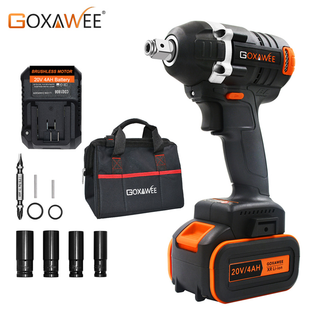GOXAWEE 21V Cordless Electric Impact Wrench Driver Socket Wrench 4000mAh Lithium Battery Hand Drill Installation Power Tools
