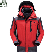AFS JEEP Brand Hunting Clothes Outdoor Camping Hiking Clothing Hoodie Windstopper Waterproof Jacket Winter Coat Men Ski Fishing