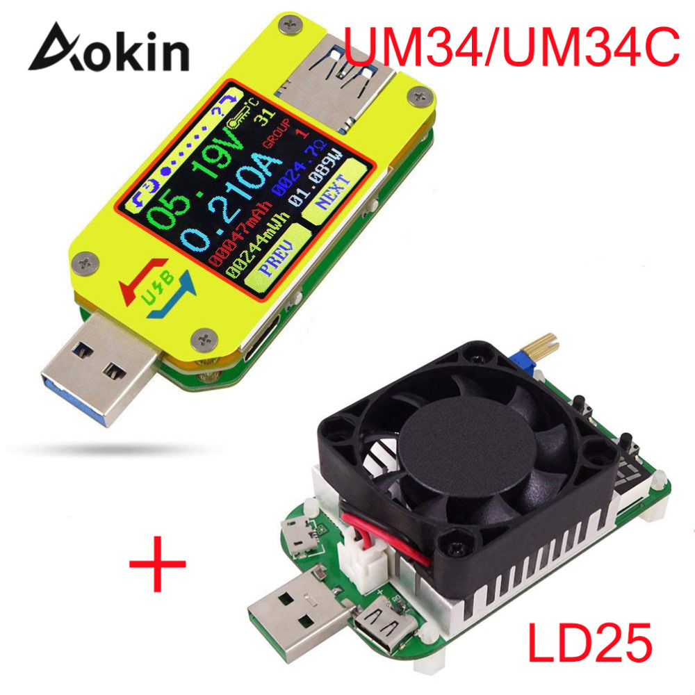 Voltmeter Ammeter UM34 UM34C LD25 For APP USB 3.0 Type-C DC Voltage Current Meter Battery Charge Measure Cable Resistance Tester