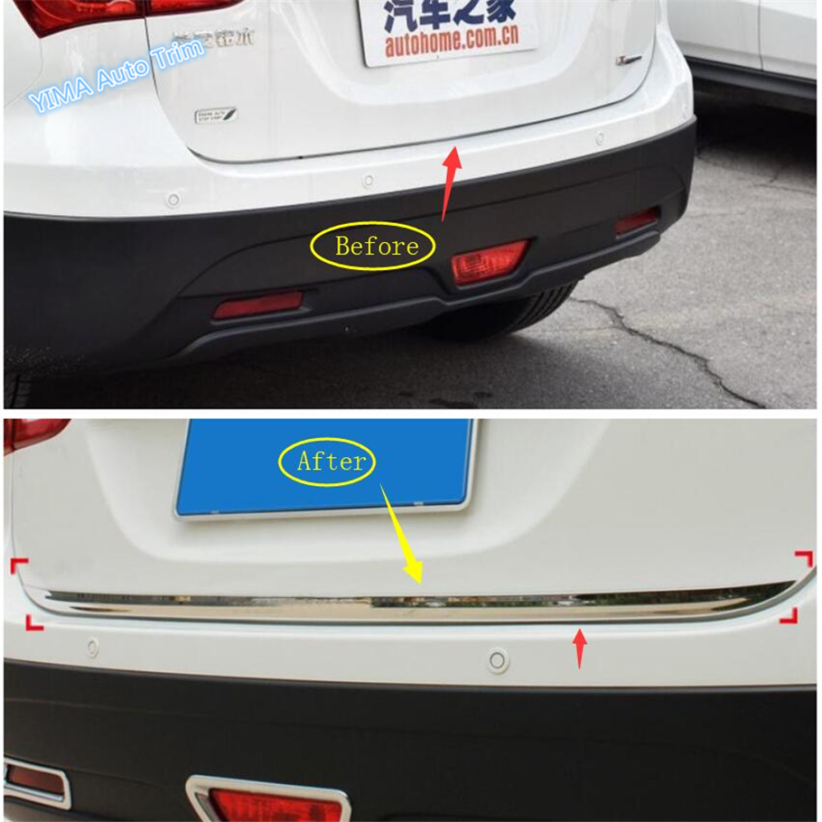Lapetus Rear Trunks Tailgate Lid Door Strips Sill Bezel Cover Trim 1 Pcs Fit For <font><b>Suzuki</b></font> <font><b>SX4</b></font> S-cross 2014 - <font><b>2019</b></font> / Exterior Kit image