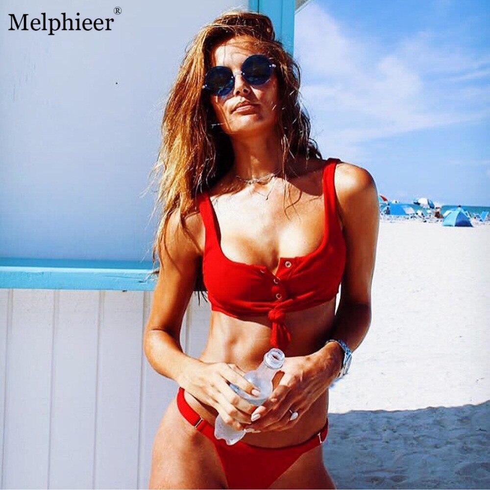 Melphieer New Solid Swimsuit Female Sexi Button Chest Knot Bikinis Women Red Black Brazilian Bikini Bathing Suits 2018 Swimwear