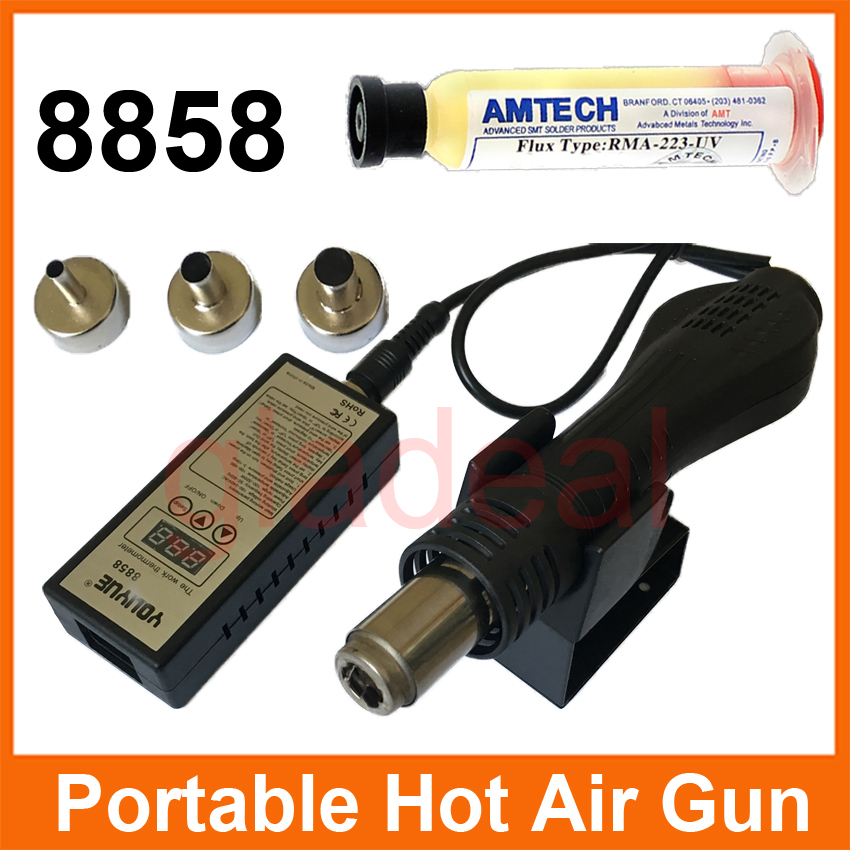 8858 Portable Soldering Station 110/220V Heating Hot Air Gun Blower For Chip IC PCB BGA Repair With Flux Grease
