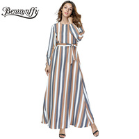 39faca8418e Benuynffy Women  39 s Fashion Striped Long Sleeve A Line Dress with Belt Autumn  winter Women Casual O-neck Maxi Dress Vestidos