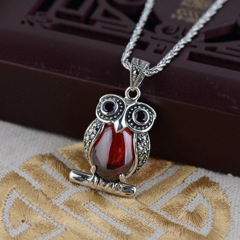 Célèbre marque 925 collier en argent incrusté pendentif rouge femme dessin animé hibou naturel pierres semi-précieuses grenat avec boîte-cadeau