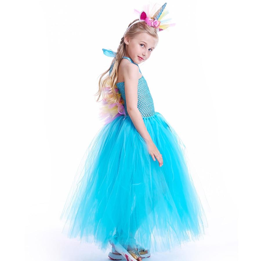Fluffy Rainbow Dash Girls Tutu Dress with Headband Princess Kids Pony Birthday Party Tutu Dress Girl Halloween Carnival Costume (2)