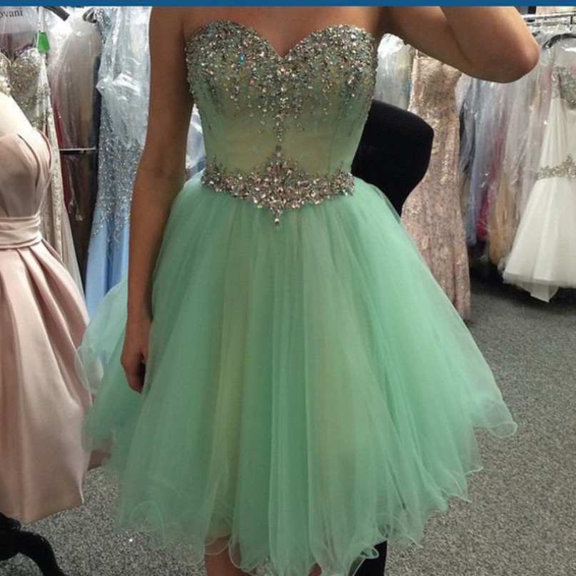 Charming Sweetheart Tulle Sparkly Crystal Beadings Cocktail Dresses Prom Dresses for Homecoming Custom Made