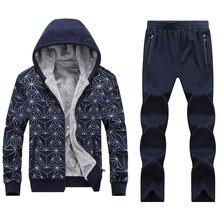 Большой размер 7XL 8XL мужские толстовки костюмы геометрические узоры мужчины Sportsuit одежда зимний теплый комплект тренировки спортзал бега спортивный костюм Мужской