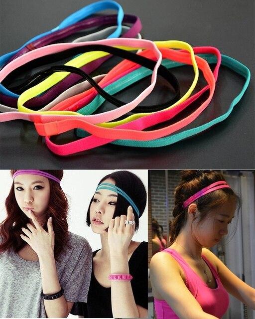 1 Pc Elastic Headband Softball Anti-slip Silicone Rubber Hair Bands Bandage  On Head for Women 10 Candy Color b2623ba6fd4