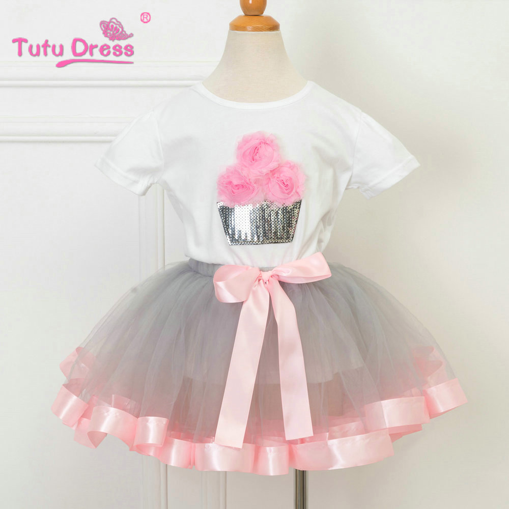 T-shirt Tutu Dress Sets Clothing Sets Cartoon Clothing Girls Baby Girls Clothing Sets Flower T-shirt Baby First Birthday Skirt