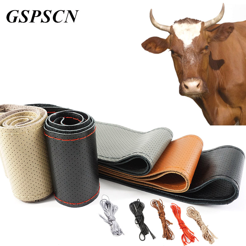 GSPSCN DIY Genuine Leather Car Steering Wheel Cover Soft Anti slip 100% Cowhide Braid With Needles Thread 36 38 40 cm Size-in Steering Covers from Automobiles & Motorcycles