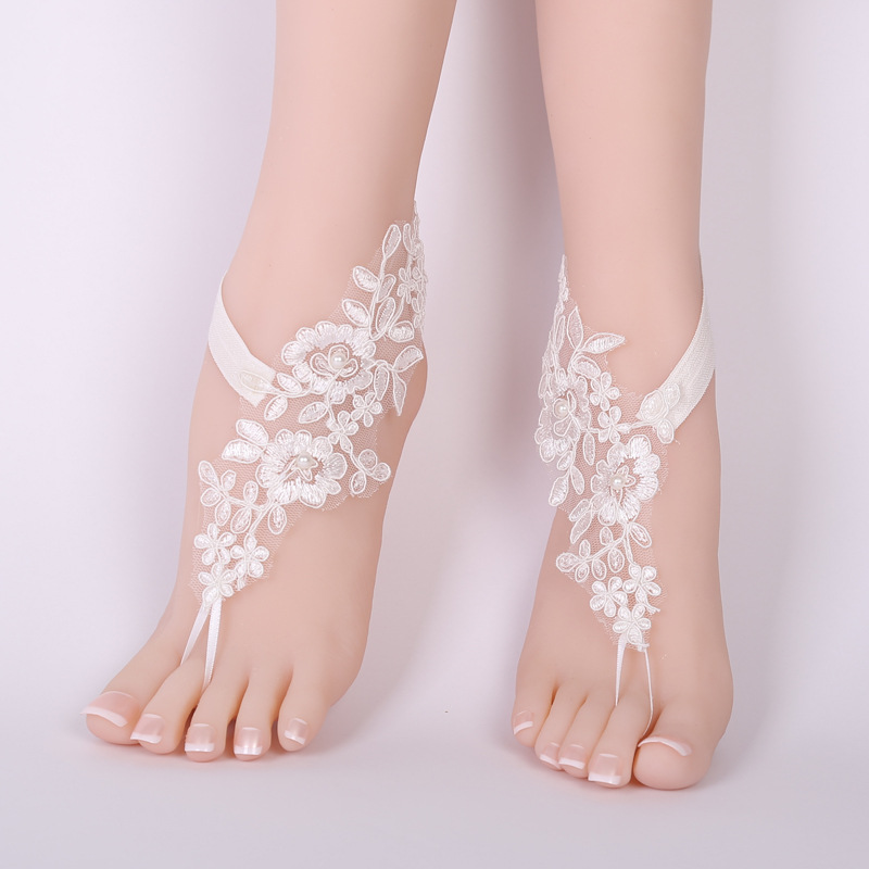 CHICVIE Bridal Summer Crochet Barefoot Sandals Lace Anklets Wedding Prom Party Ankle-Length Women Bare Feet Sandals SAN190061