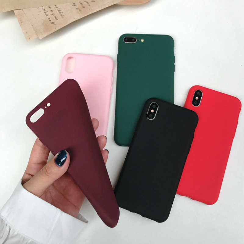 Color Caramelo Suave mate TPU para iPhone 6 funda 6s 7 8 11 funda de silicona para iPhone 7 funda 7Plus 5 5S se XR XS 11 Pro Max cubierta completa