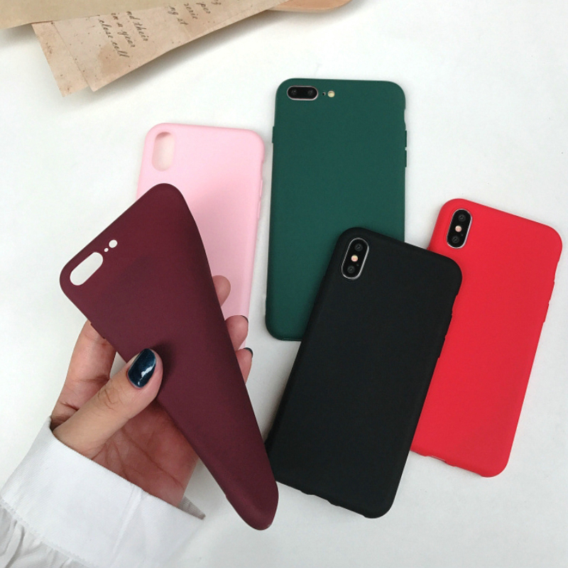 Soft Candy Color Matte TPU for iPhone 6 Case 6s 7 8 Silicone Case for iPhone 7 Case 6 6s 7Plus 5 5s se XR XS Max Full Cover
