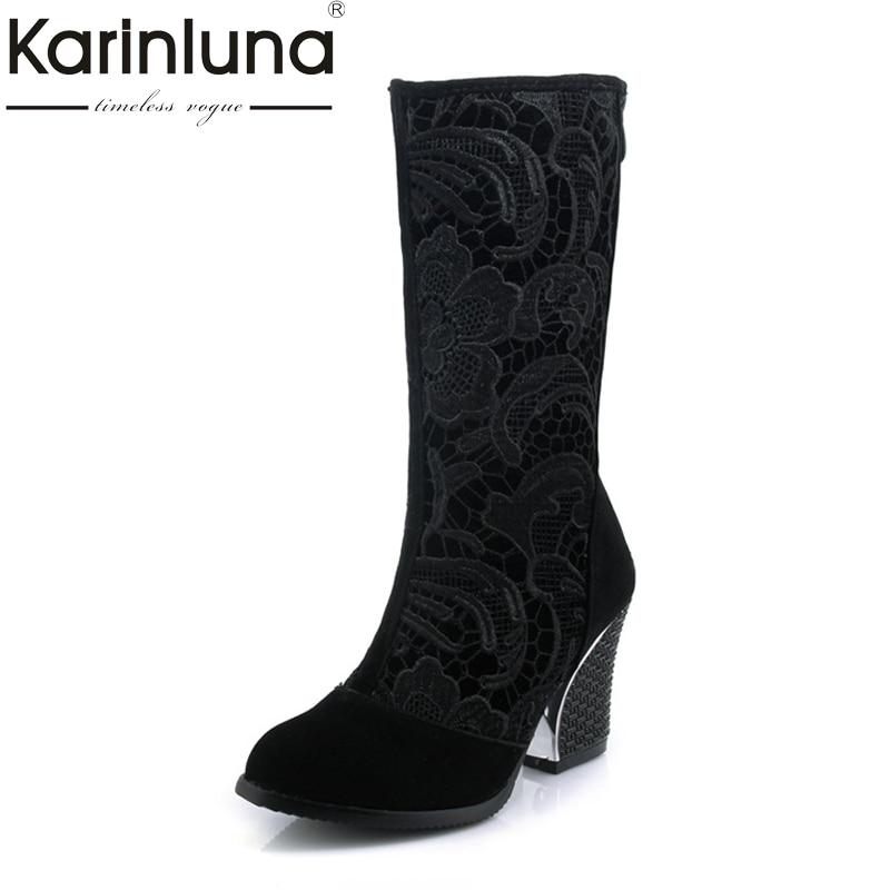 Karinluna/Женские летние сапоги модные высокий толстый каблук сапоги на платформе до середины колена, с круглым носком Обувь большой Размеры 33-43