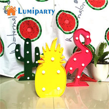 Flamingo 3D LED Light Marquee Sign Cactus Pineapple Table Lamps Cute Kids Gift Toy for Children Bedroom Indoor Decor Lighting(China)