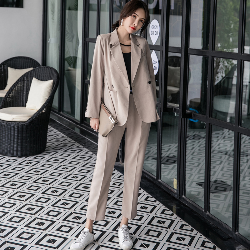 Women 2 Pieces Set Double Breasted Khaki Blazer High Waist Pant Suit Fashion Female Jacket Workwear