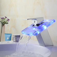 цена на Full copper LED thermochromic glass waterfall Basin wide mouth tap
