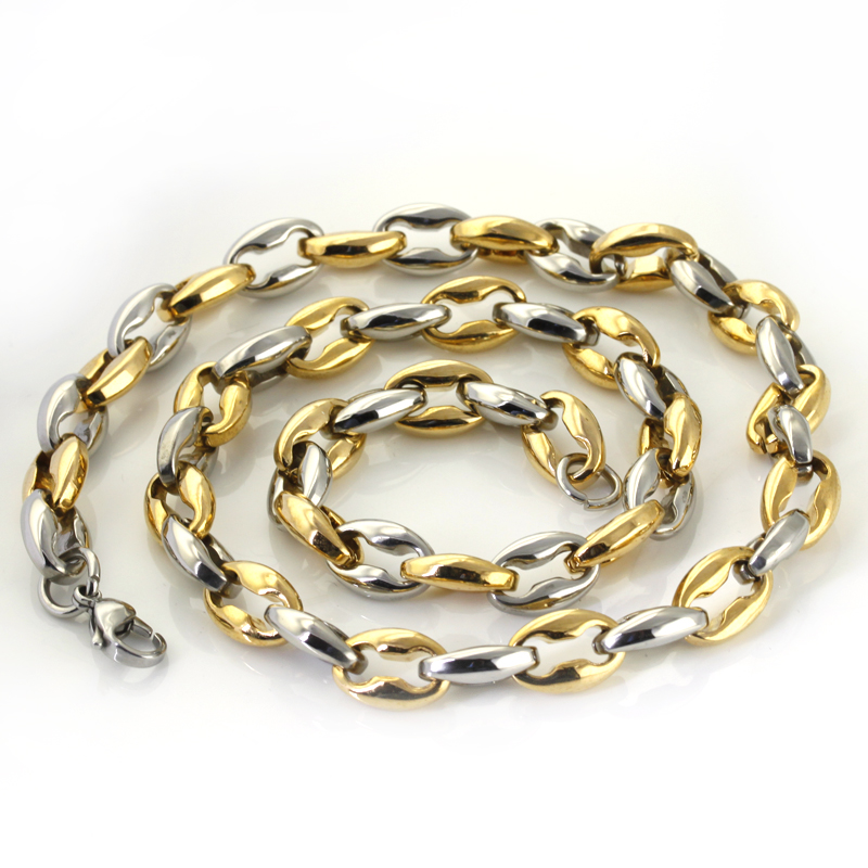 Wholesale Retail! 7-40 12mm Stainless Steel Silver Gold Color Rolo Chains Neklace For Men/ Boy, Lowest Price Best Quality
