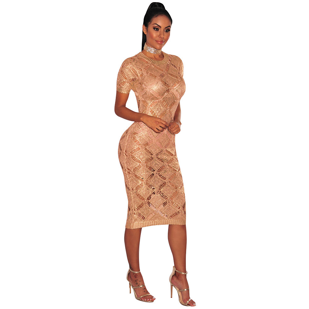 HTB1tBpySpXXXXaMXVXXq6xXFXXXs - 2018 Latest Summer Sexy Dress Rose Gold Knitted Nightclub Party Dresses Women Short Sleeve Fashion Casual Dress