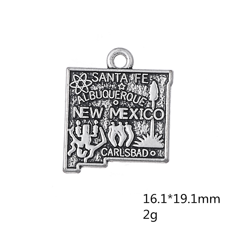 30PCS/Lots Double side Silver New Mexico State Map Dangle Charms Jewelry 2 Style DIY Fit Bracelet Necklace