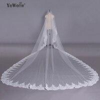 YeWen 5*3,5 метра pure белый Flying вуаль Свадебные Длинные края шнурка Bridal Veil длинные Люкс свадебная фата кружева завесу