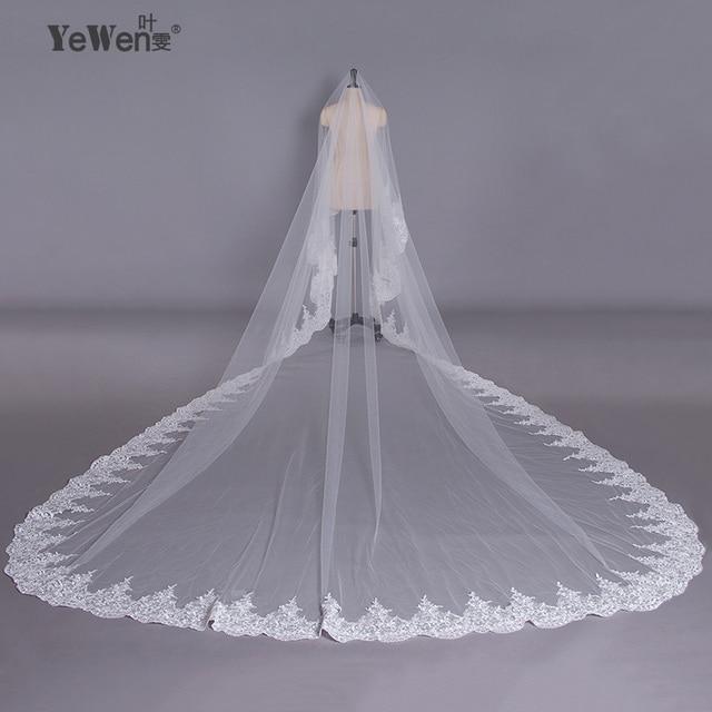 super popular fcd8f e678a YeWen 5*3, 5 Meter pure White Fliegen Schleier Hochzeit Lange Spitze Rand  Braut Luxus spitze