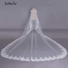 YeWen 5*3.5 Meter pure White Cathedral Wedding Veils Long Lace Edge Bridal Veil Luxury