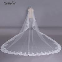 YeWen 5*3.5 Meter pure White Flying Veil Wedding Long Lace Edge Bridal Veil Long Luxury Wedding Veil Bridal Lace Veil
