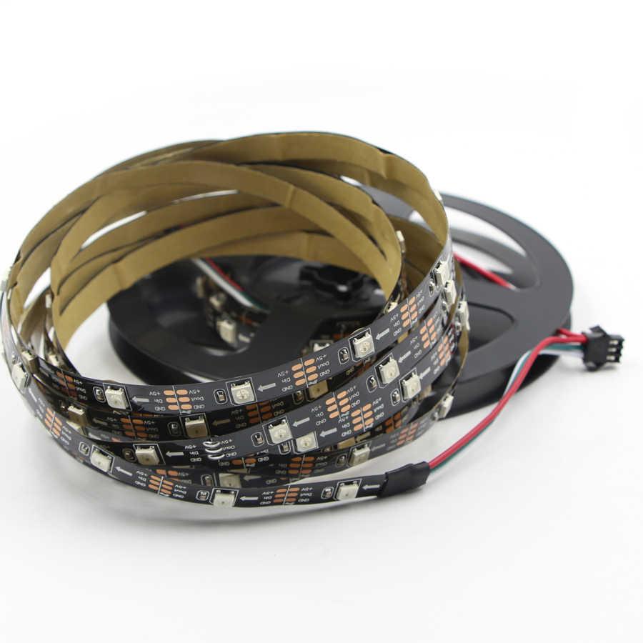 WS2812B WS2812 IC Smart led pasek pikseli indywidualnie adresowane czarny/biały PCB 30/60/144 diody led/ m wodoodporny DC 5 V 1 M 2 M 5 M taśma