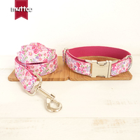 50pcs Lot MUTTCO Retailing Particular Colorful Dog Collar THE PINK FLOWER Unique Style Print Dog Collars