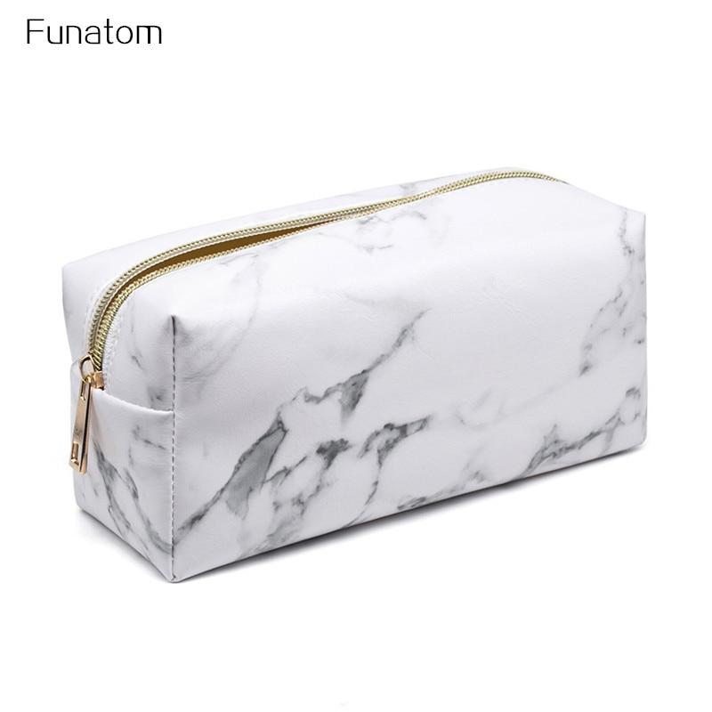 d617d2944f4e 2017 Fashion Marble PU Leather Stone pattern Cosmetic Bag Zipper ...