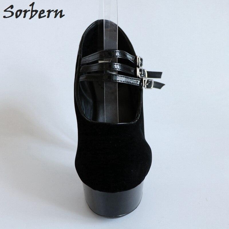 Sorbern/черные вечерние туфли из искусственной замши на высоком каблуке 15 см на платформе черные женские туфли 2018 г. Новые белые женские туфли н... - 6