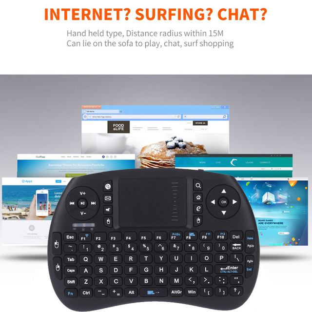 2.4G Mini Wireless Keyboard QWERTY Keyboard and Touchpad Mouse Combo for Android TV Box/Google TV Box/PC/Tablets Gamer