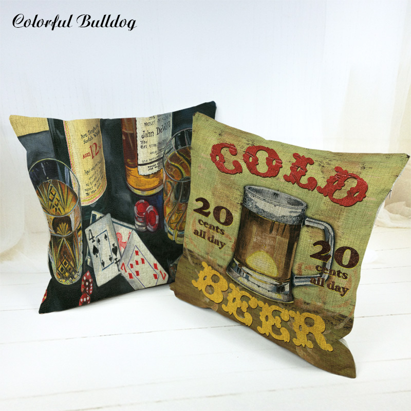 Cushion Cover Handmade Vintage Shabby Chic Wood Happy Cup Wine Cold Beer Pub Bar Grill M ...