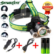 4Modes 9000Lm 3X Q5+2R5 LED Bicycle Headlamp Head Light Torch USB 18650+Car Charger Cycling Camping Hiking Bike Accessories