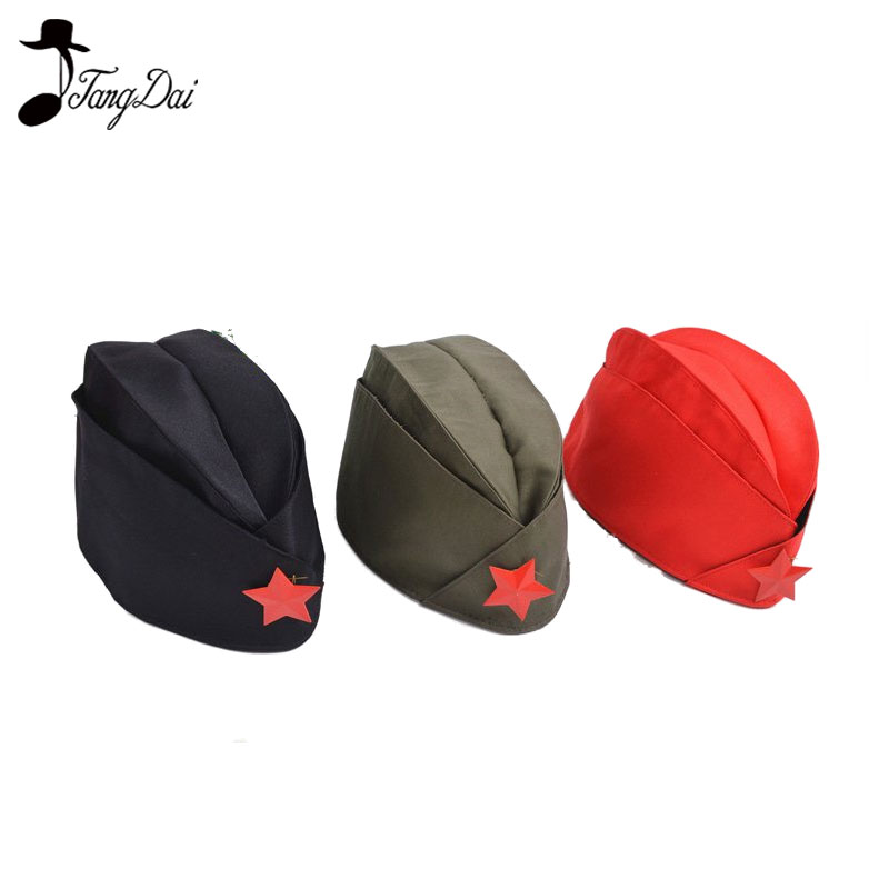 Russian Soviet Red Army Red Star Military Garrison Caps Girls Unique Army Green Uniform Hat Caps Foldable Hat Tricorne Green