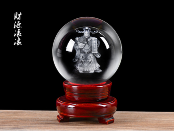 Efficacious HOME shop Mascot- God of wealth Asia Cai Shen Ye Money Drawing FENG SHUI Figurine 3D Crystal sculpture statue