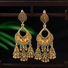 Vintage Water Drop Shape Jhumka Earrings Indian Jewelry For Women 2019 Ethnic Carved Bells Tassel Tibetan Jewelry Drop Earrings pair of vintage faux gem water drop jewelry earrings for women