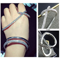 Apm monaco diseño las mujeres de lujo famoso mosaico de cristal cruz mano cuff brazalete palma pulsera brazalete de joyería de la marca
