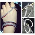 Mulheres de design de luxo famoso mosaico de cristal cruz apm monaco mão palm bracelet pulseira cuff bangle marca de jóias