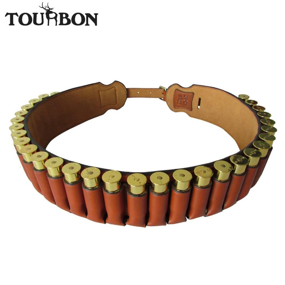 Tourbon Hunting Gun Accessories Genuine Leather Shotgun 20 Gauge Cartridge Shells Belt 30 Rounds Ammo Holder