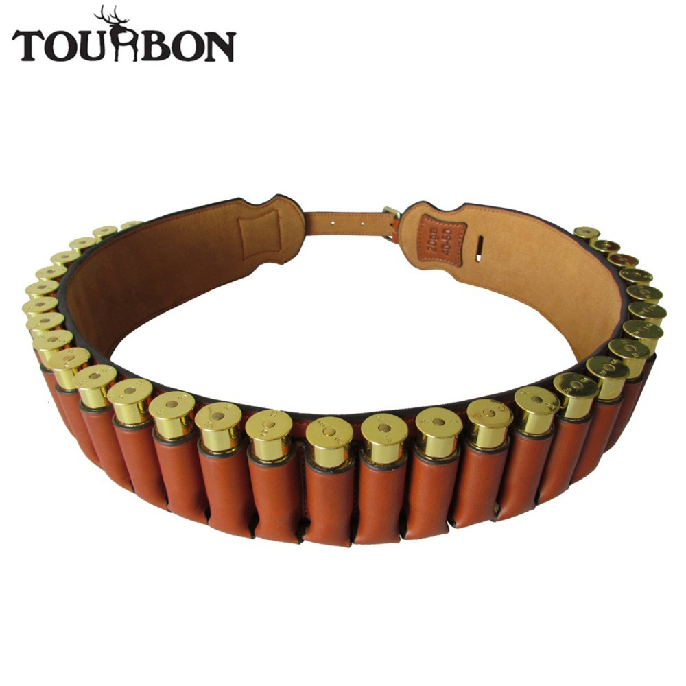 все цены на Tourbon Hunting Gun Accessories Genuine Leather Shotgun 20 Gauge Cartridge Shells Belt 30 Rounds Ammo Holder Shooting Bandolier онлайн