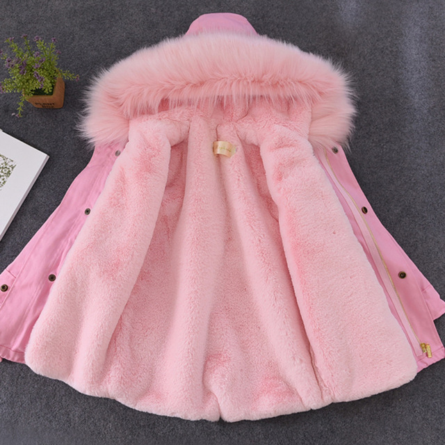 Big Promo girl winter coat girls fur jackets parka big faux fox fur collar Kids Jackets Coats Rex rabbit hair liner children warm outwear