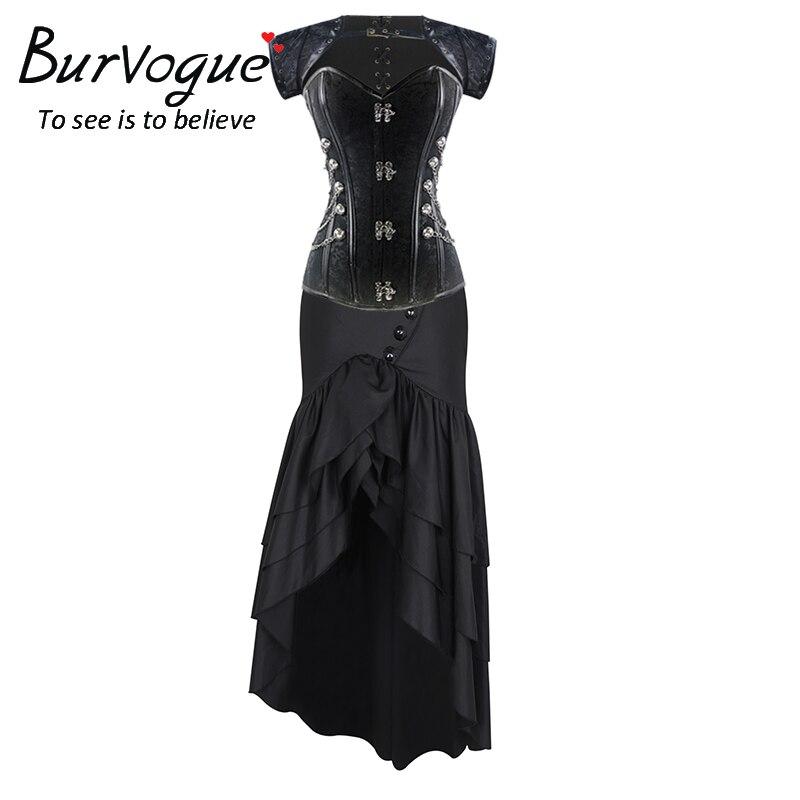 Burvogue Women New Steampunk Corset Dress Mermaid Skirt Vintage Steel Boned Brocade Bustier Waist Control Overbust Corset Top strapless steel boned corset top